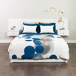 Prepac Dossier de lit flottant pour très grands lits avec tables de chevet, blanc