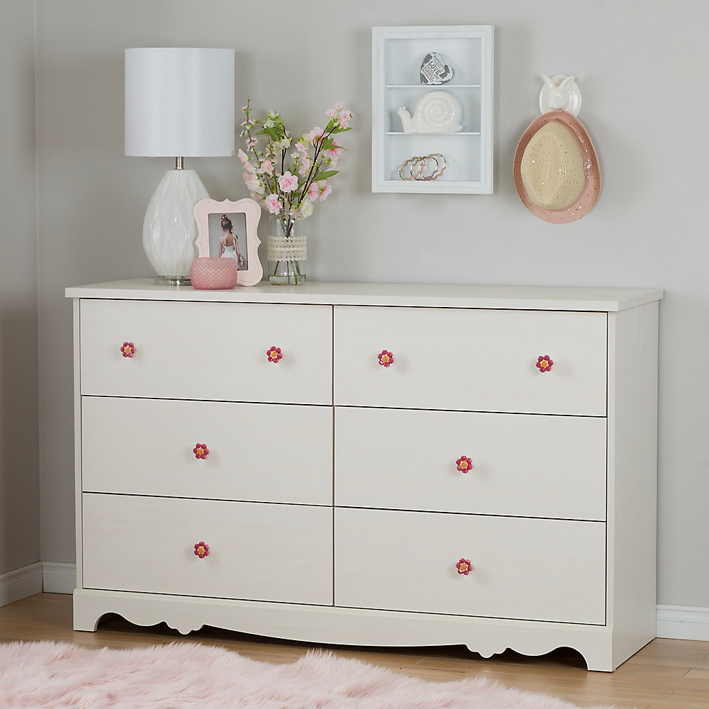 Lily Rose 6-Drawer Double Dresser, White Wash