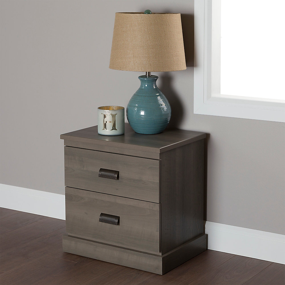 Gloria 2-Drawer Nightstand, Gray Maple
