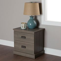 South Shore Gloria 2-Drawer Nightstand, Gray Maple