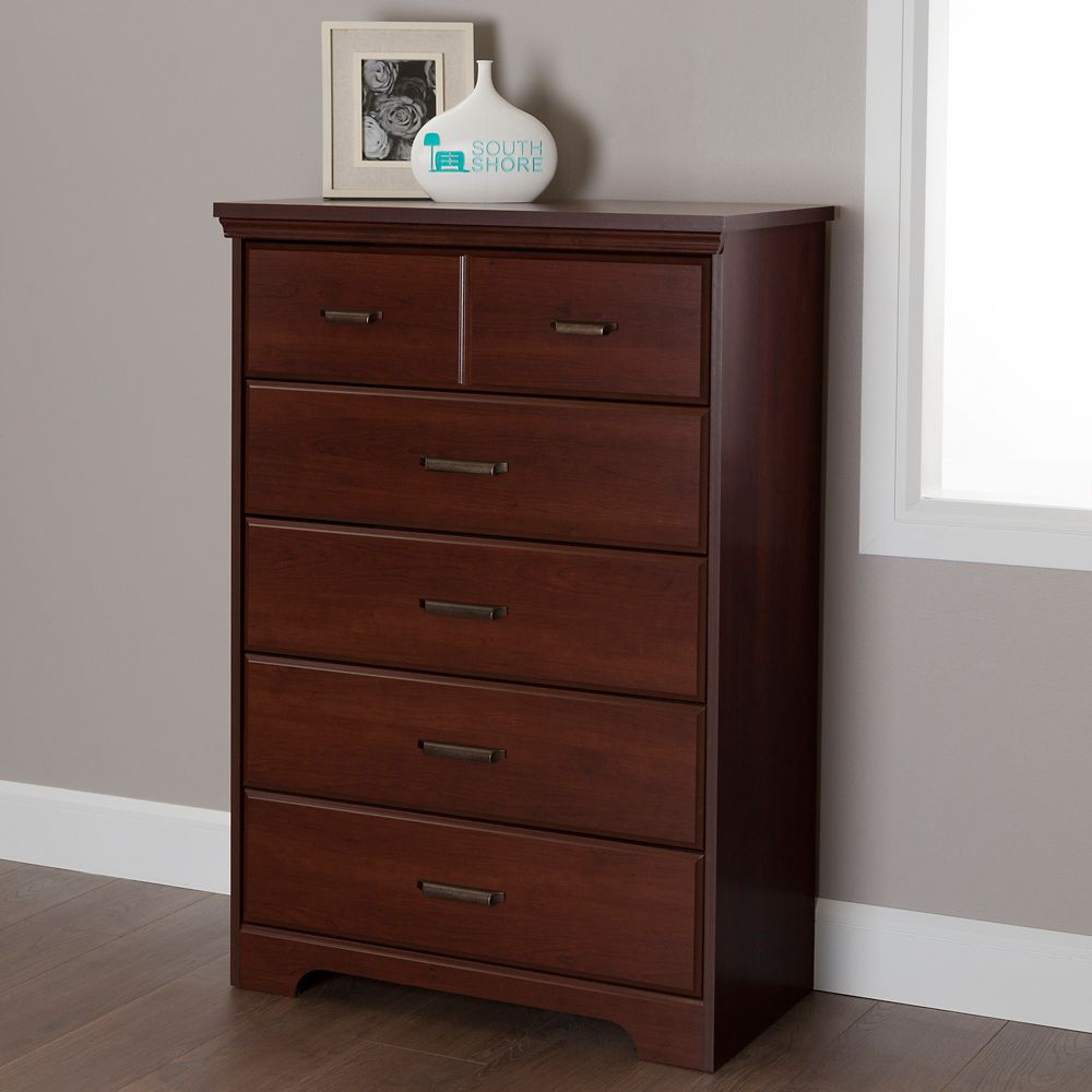 South Shore Versa 5 Drawer Chest Royal Cherry The Home Depot Canada