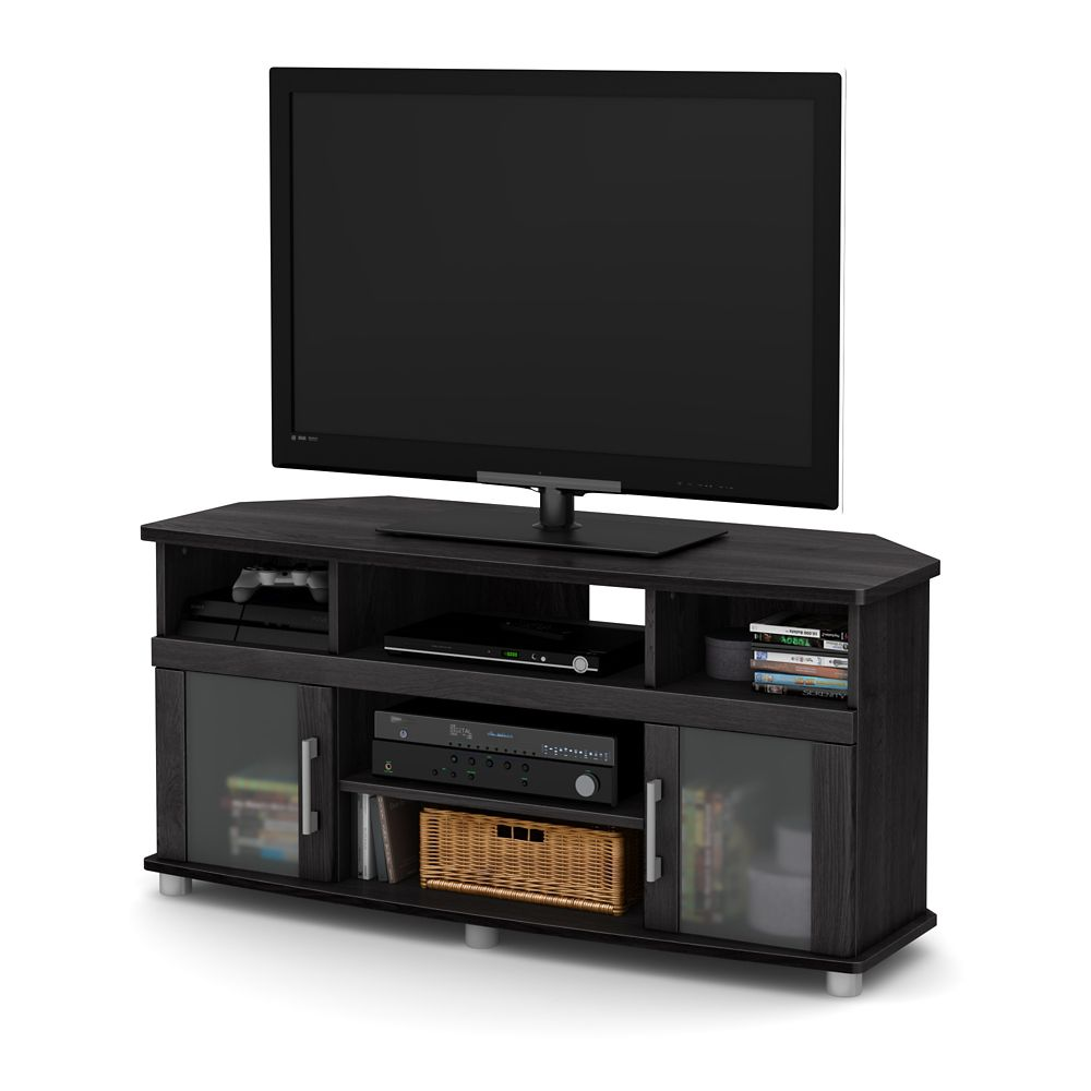 City Life Corner Tv Stand For Tvs Up To 50 Inches Gray Oak Photo Of Product
