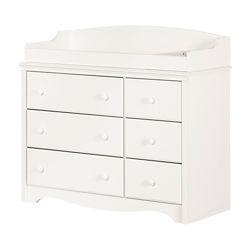 South Shore Table à langer/bureau double 6 tiroirs Angel, Blanc solide