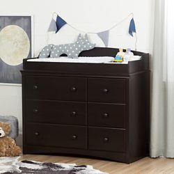 South Shore Angel Changing Table/Dresser with 6 Drawers, Espresso