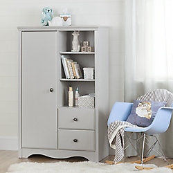 South Shore Angel Armoire with Drawers, Soft Gray