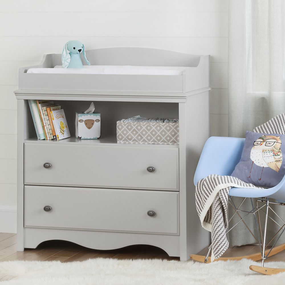 South Shore Angel Changing Table with Drawers in Soft Grey