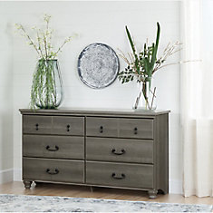 Noble 6-Drawer Double Dresser, Gray Maple