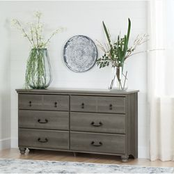 South Shore Noble 6-Drawer Double Dresser, Gray Maple