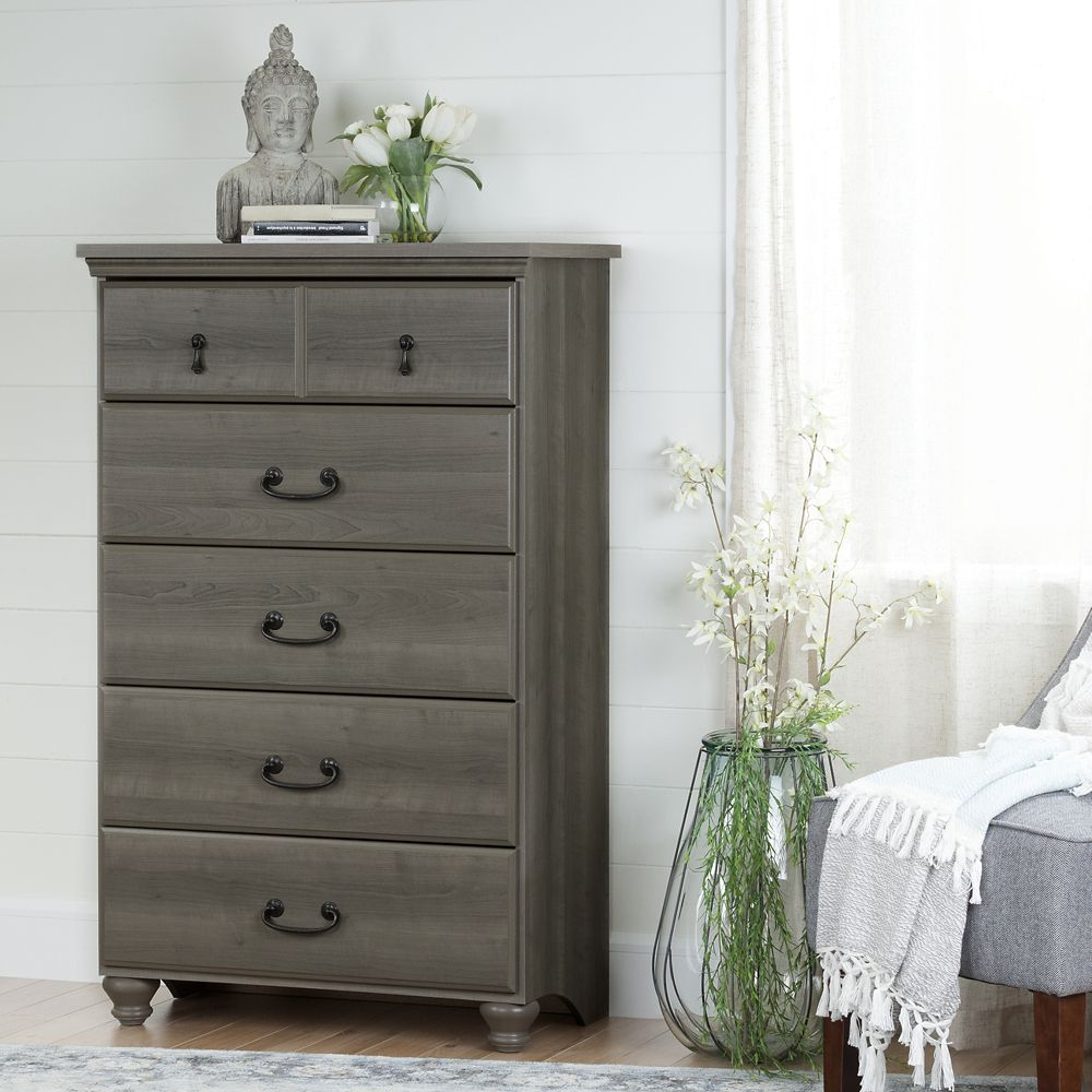 South Shore Noble 5-Drawer Chest, Gray Maple