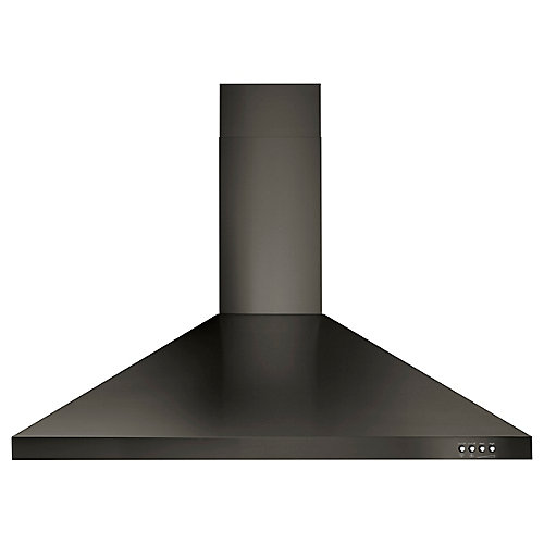 36-inch Contemporary Black Stainless Wall Mount Range Hood in Black Stainless Steel