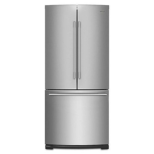 Réfrigérateur à porte française en acier inoxydable résistant aux empreintes digitales de 30 po W 19,7 pi3 - ENERGY STAR