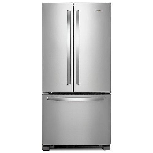 Réfrigérateur à porte française en acier inoxydable résistant aux empreintes digitales de 33 po W 22 pi3 - ENERGY STAR