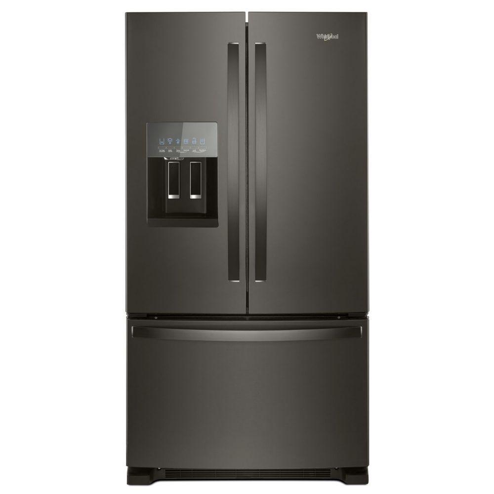 Réfrigérateur à porte française de 36 po W 25 pi3 en acier inoxydable noir résistant aux empreintes digitales - ENERGY STAR