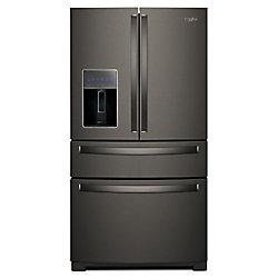 Whirlpool 36-inch W 26 cu. ft. 4-Door Refrigerator in Fingerprint Resistant Black Stainless Steel