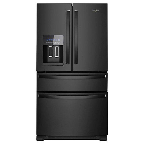 Réfrigérateur à porte française de 36 po W 25 pi3 en noir - ENERGY STAR
