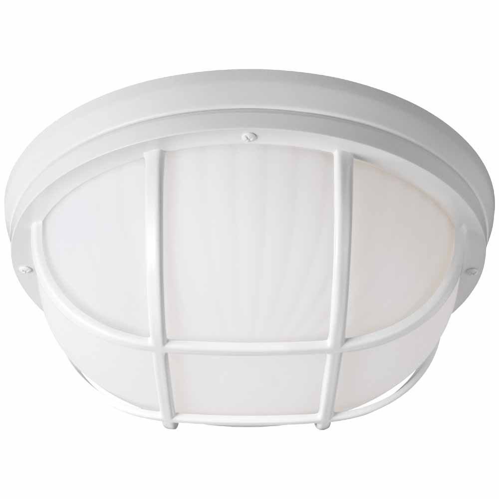 12-inch White LED Flushmount Ceiling Light with Frosted White Glass Shade - ENERGY STAR