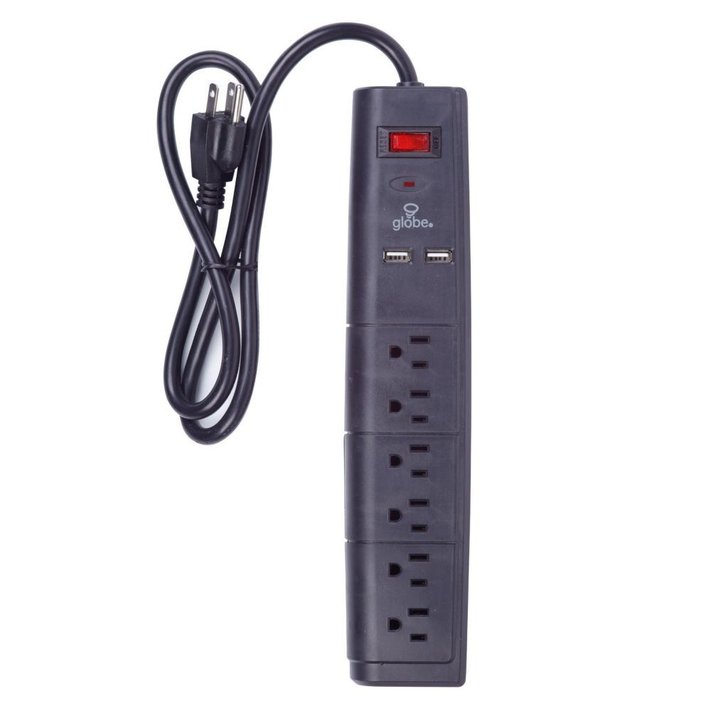 General Purpose Cords The Home Depot Canada Plug 2wire Polarized Rona Globe Electric 6 Outlet Surge Protector Power Strip 3 Ft