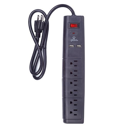 Globe Electric 6-Outlet Surge Protector Power Strip, 3-ft power cord, 2x USB Ports, Black Finish