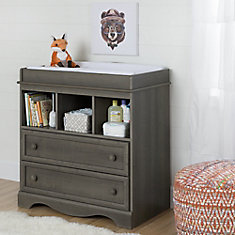Savannah Changing Table with Drawers, Gray Maple