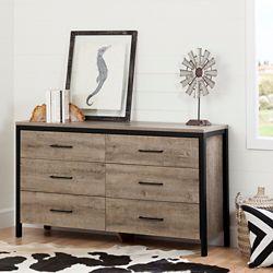 South Shore Munich 6-Drawer Double Dresser, Weathered Oak
