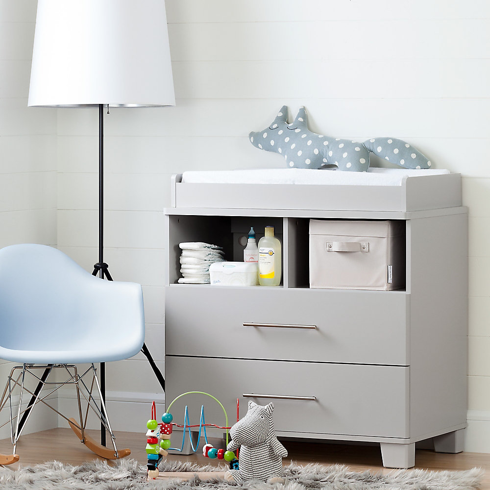 Cuddly Changing Table/Dresser, Soft Gray
