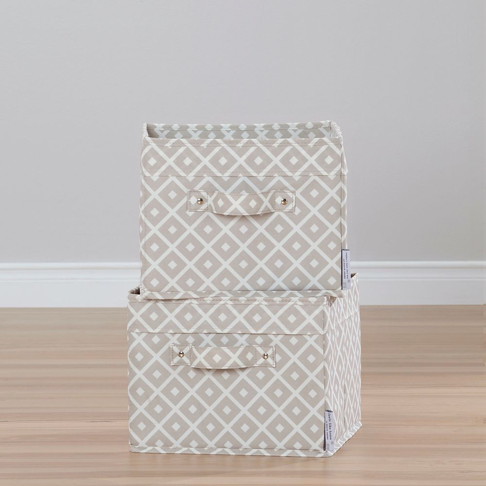 South Shore Storit Beige Canvas Baskets with Pattern, 2-Pack