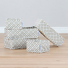 Storit Beige Canvas Drawer Organizers with Pattern, 5-Pack