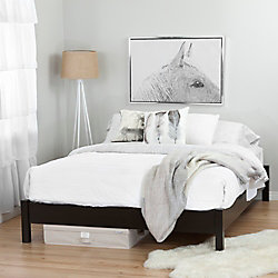 South Shore Step One Chocolate Queen Platform Bed (60'') on Legs with Canvas Underbed Storage Box