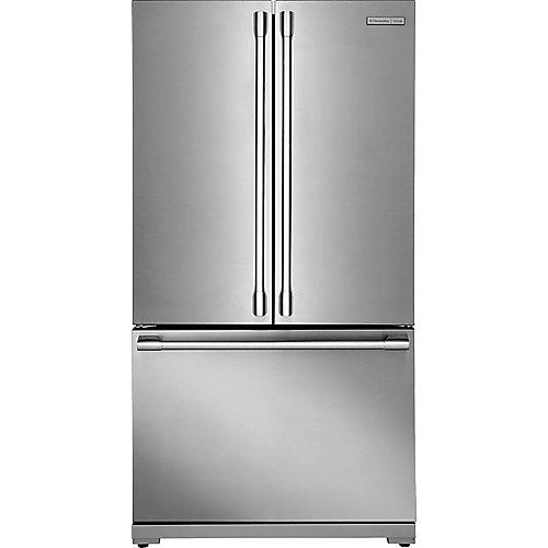 Réfrigérateur de 36 po W 22,3 pi. cu. en acier inoxydable, profondeur du comptoir, montage en bas