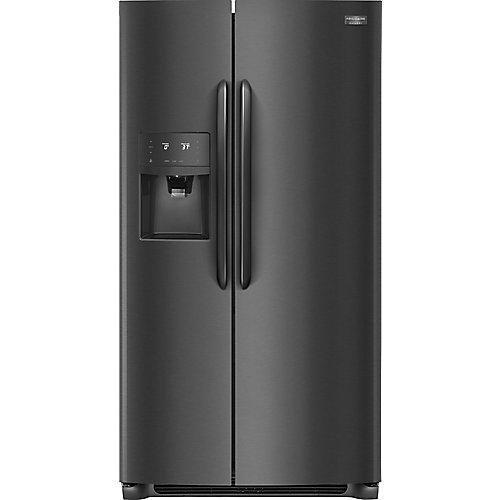 Réfrigérateur côte à côte de 36 po W 22 pi3 en acier inoxydable noir, profondeur du comptoir