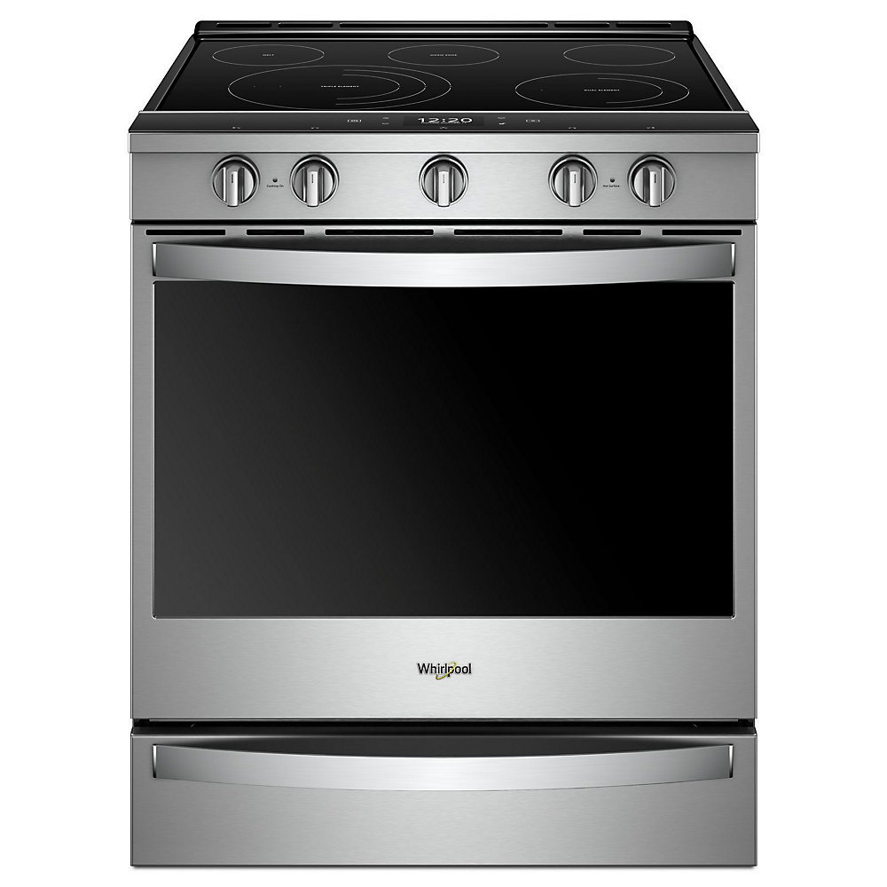 6 4 cu  ft  Smart Slide-In Electric Range with Self-Cleaning Convection  Oven in Stainless Steel