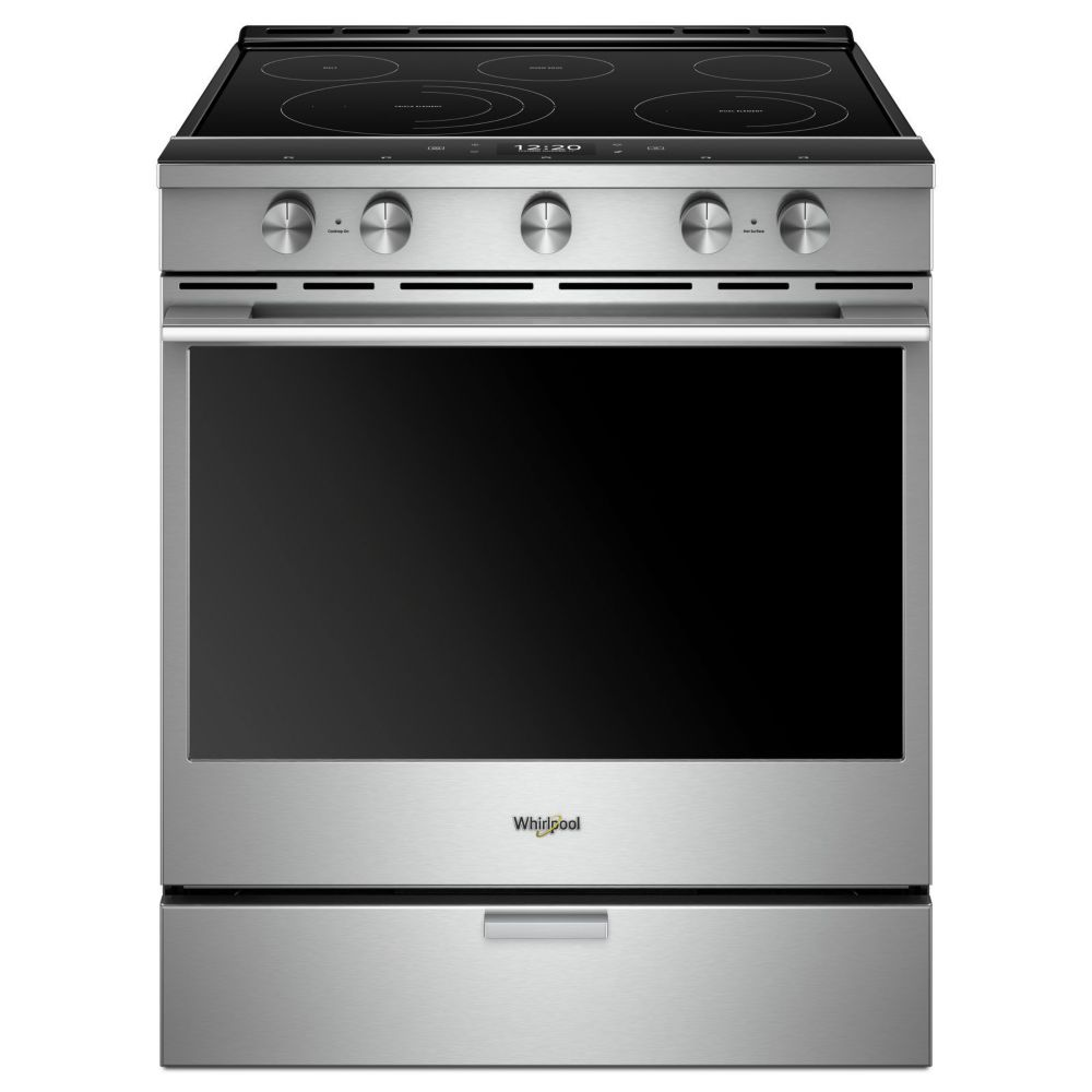 Whirlpool 30-inch, 6.4 cu. ft. Electric Slide-In Range with 5 Elements in Finger Print Resistant Stainless Steel