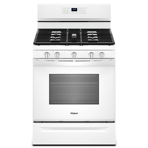 30-inch 5 cu. Ft. Gas Freestanding Fan Convection Range with 5 Burners in White