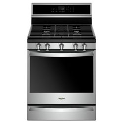 Whirlpool 5.8 cu. ft. Smart Gas Range with Self-Cleaning Convection Oven in Fingerprint Resistant Stainless Steel