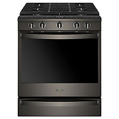 5.8 cu. ft. Smart Slide-In Gas Range with Convection Oven in Fingerprint Resistant Black Stainless Steel