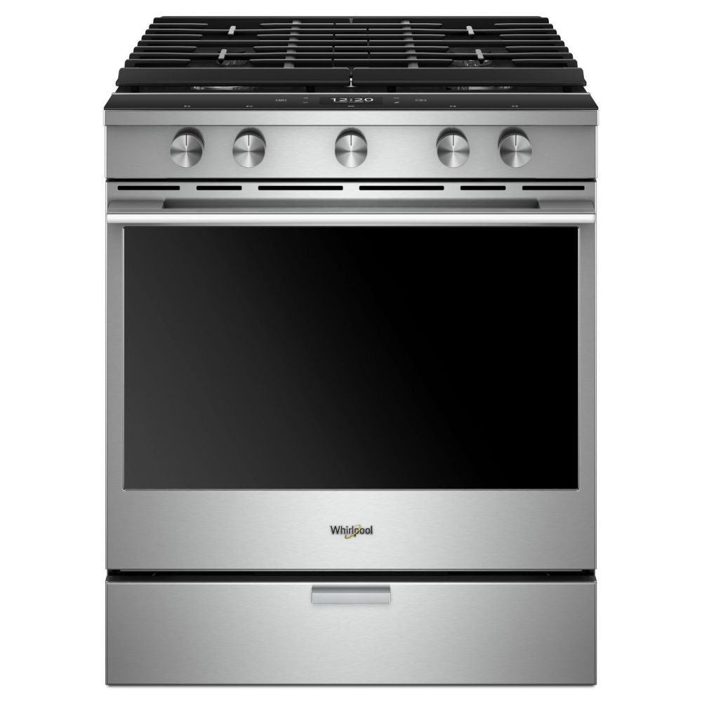 Whirlpool 30-inch W 5.8 cu. ft. Gas Slide-In Range with 5 Burners in Stainless Steel