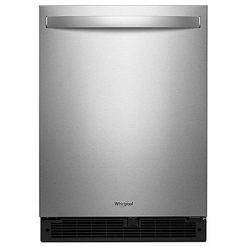 Réfrigérateur 24 pouces W 5,1 pieds cubes sous le comptoir en acier inoxydable résistant aux empreintes digitales - porte pivotante à droite