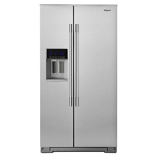 Réfrigérateur côte à côte de 36 po W 21 pi3 en acier inoxydable résistant aux empreintes digitales, profondeur du comptoir
