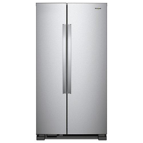 Réfrigérateur côte à côte Whirlpool, pleine profondeur, sans distributeur, 25 pi3
