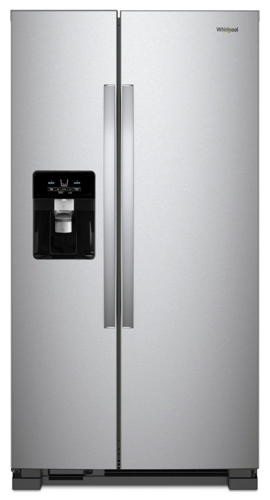 Whirlpool 33-inch W 21.22 cu. ft. Side-by-Side Refrigerator with Ice and Water Dispenser in Stainless Steel