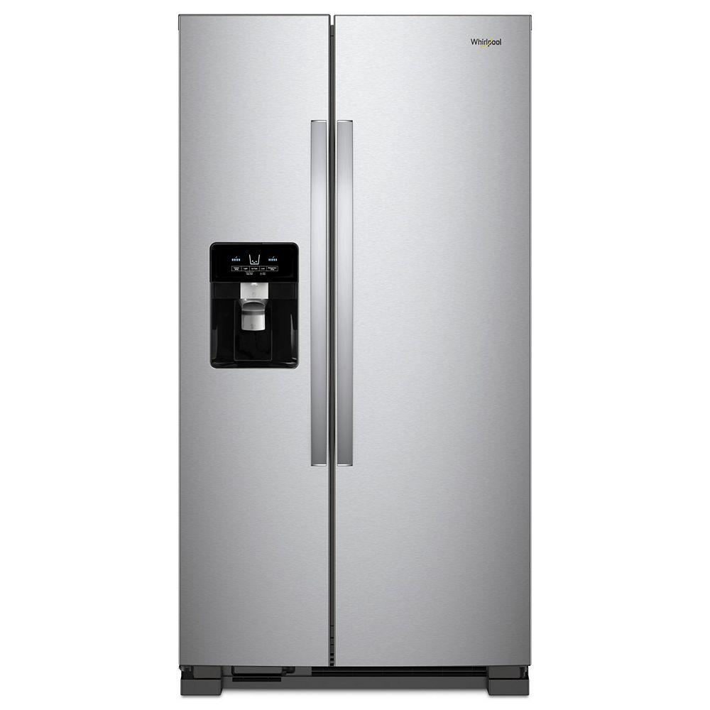 Whirlpool Réfrigérateur de 33 po W 21 pi3 côte à côte en acier inoxydable résistant aux empreintes digitales.