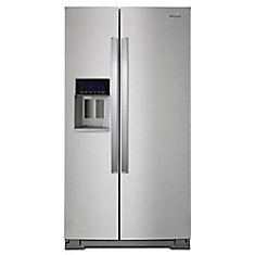 36-inch W 28 cu. ft. Side-by-Side Refrigerator with Water and Ice Dispener in Stainless Steel