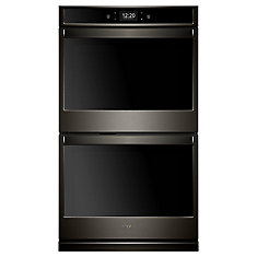 27-inch 8.6 cu. ft. Smart Double Electric Wall Oven Self-Cleaning with Convection in Fingerprint Resistant Black Stainless Steel