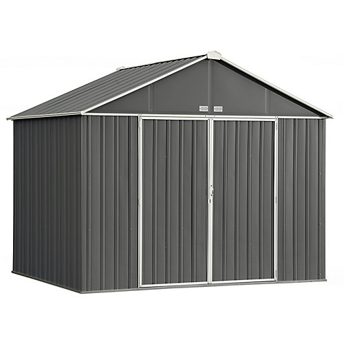EZEE 10 ft. x 8 ft. Galvanized Steel Storage Shed with Extra High Gable in Charcoal with Cream Trim