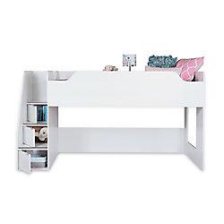 """South Shore Lit mezzanine simple (39"""") avec escalier Mobby, Blanc solide"""