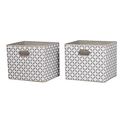 South Shore Storit Taupe and White Fabric Storage Baskets with Pattern, (2-Pack)