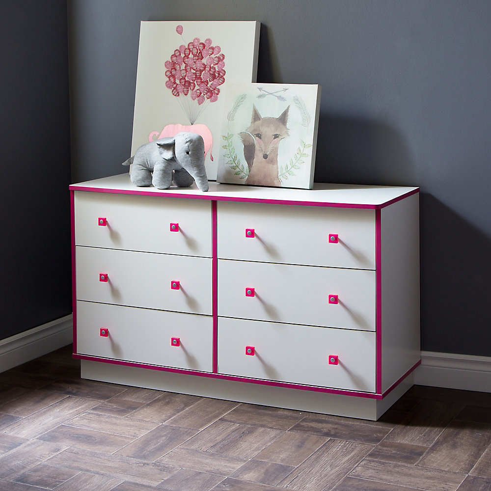 Logik 6-Drawer Double Dresser, Pure White and Pink
