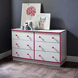 South Shore Logik 6-Drawer Double Dresser, Pure White and Pink