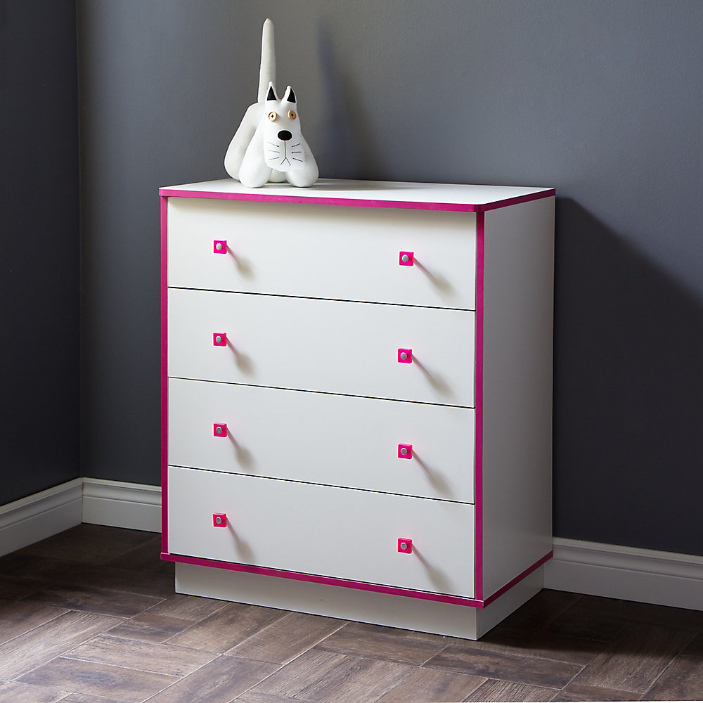 Logik 4-Drawers Chest, Pure White and Pink