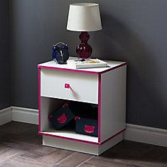Table de chevet 1 tiroir Logik, Blanc solide et rose